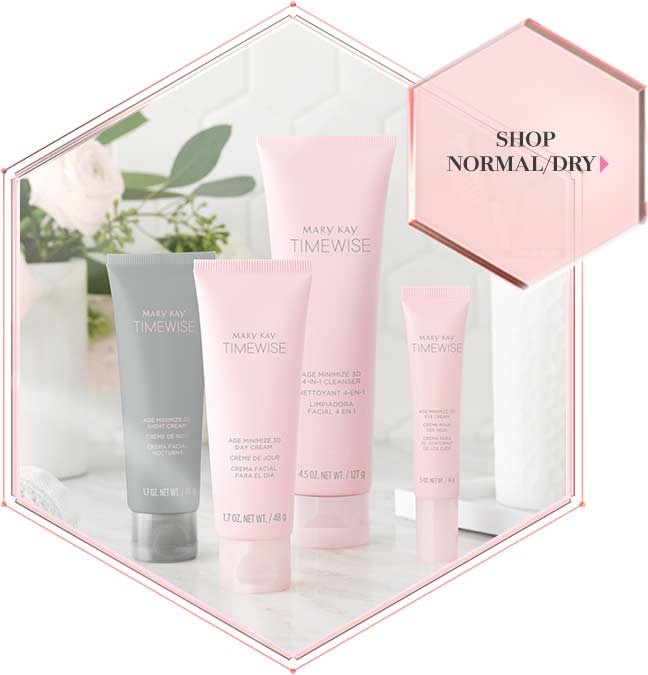Four products are shown in pink and grey tubes, making up Mary Kay's new TimeWise Miracle Set 3D skin care regimen for normal to dry skin.